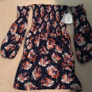 Flowery off the shoulder dress